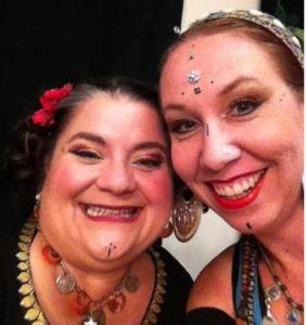 Me and Cassandra, before a bellydance fundraiser